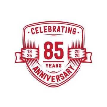 85 years anniversary celebration shield design template. 85th anniversary logo. Vector and illustration.