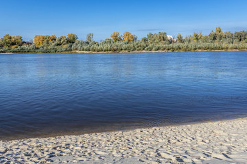 Bank of River Vistula in Mokotow district of Warsaw, capital city of Poland