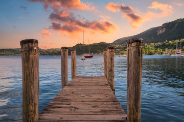Wooden jetty on the lake