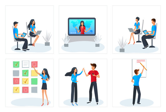 Vector concept of workshop business training. Online education, courses, e-learning. Agile software development process. Project management. Students sitting with laptop and learning.