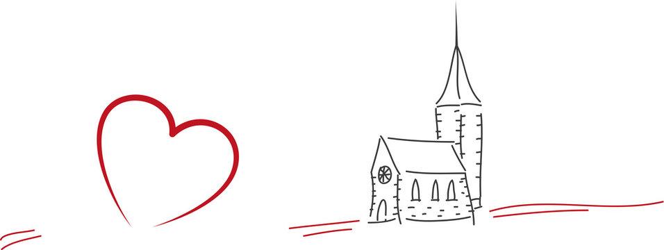 Einladung zur Konfirmation, Firmung, Familienfeier, Kleine Kirche mit Herz, Kirchgemeinde, Gottesdienst, christlicher Glaube an Gott leben, beten und Einsamkeit meiden
