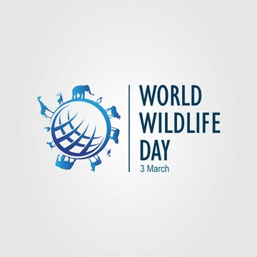 World Wildlife Day 3 March sign, logo and symbol. Vector illustration.