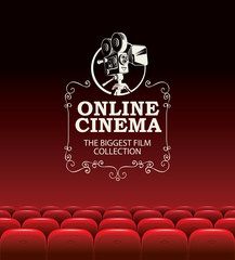 Vector online cinema poster for the biggest film collection. Online cinema concept. Empty movie theater with big screen and red seats. Can be used for advertising banner, flyer, web page, background