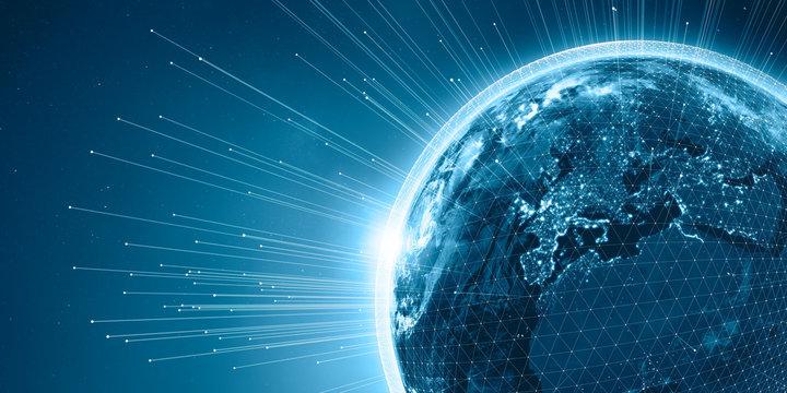 Europa aus dem Weltraum nachts mit Beleuchtung, 3D Rendering Planet Erde mit Netzwerk und Datenstrom