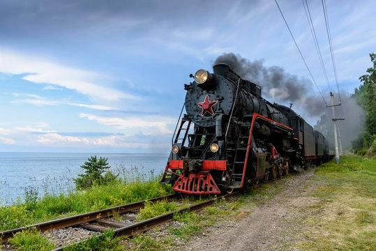 Old steam locomotive in the Circum-Baikal Railway