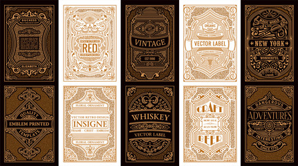 Vintage set retro cards. Template greeting card wedding invitation. Line gold calligraphic frames