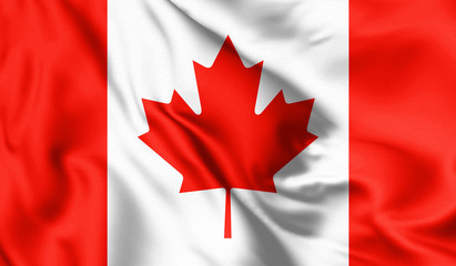 Tuinposter Canada Canada flag blowing in the wind. Background silk texture. 3d illustration.