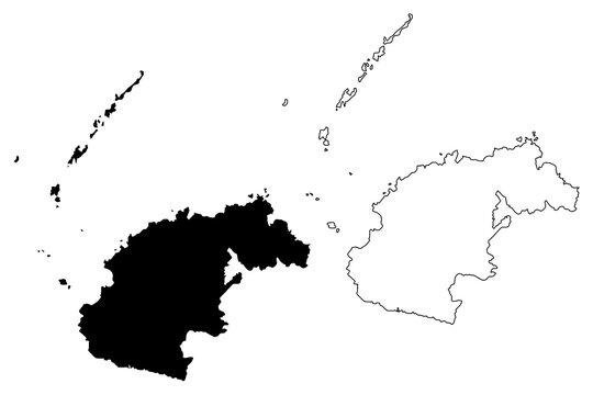Western Division (Republic of Fiji, Melanesia) map vector illustration, scribble sketch Viti Levu, Yasawa, Viwa and Mamanuca Islands map