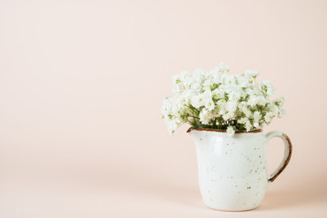 A bouquet of beautiful white spring flowers in a white vase on a pastel beige background.