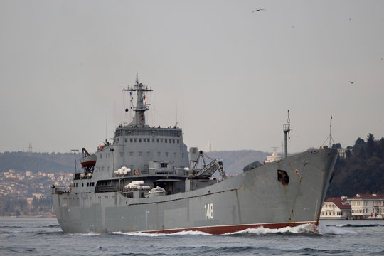 The Russian Navy's large landing ship Orsk sets sail in Istanbul's Bosphorus