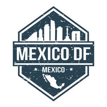 Mexico DF Travel Stamp. Icon Skyline City Design Vector.