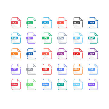 files Format icons set with flat design big pack of Document, Sysytem, offices, media, audio, graphic, video and Programming files type . vector design element illustration
