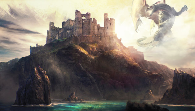 Artistic Illustration Of A Dragon Attacking A Castle On Top Of A Mountain