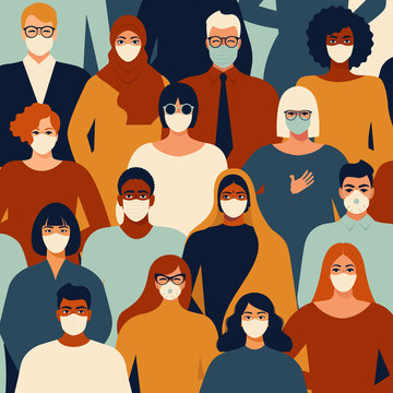 Novel coronavirus people in white medical face mask