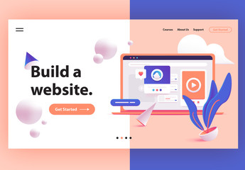 Website Hero Header Layout with 3D Illustration