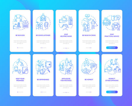 Moral values onboarding mobile app page screen with concepts set. Best friends emotional help walkthrough 5 steps graphic instructions. UI vector template with RGB color illustrations