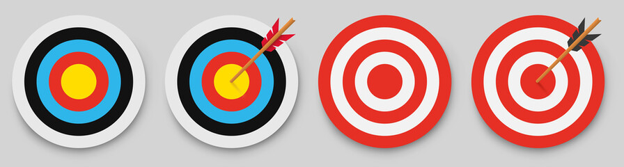 Archery target with arrow. Vector illustration.