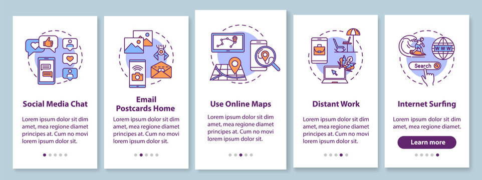 Online communication and work onboarding mobile app page screen with concepts. Internet surfing and maps use walkthrough 5 steps graphic instructions. UI vector template with RGB color illustrations