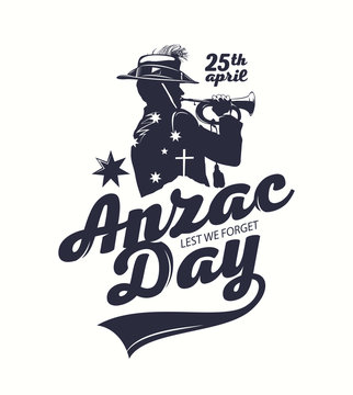 """Silhouette of a trumpet soldier on the background of """"Anzac day"""" decorative inscription. T-shirt print illustration."""