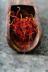 Dried saffron spice threads