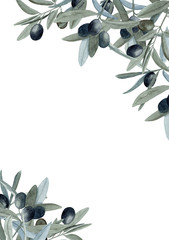Watercolor hand drawn frame with olive branches with green and black fruit on trendy earthy hue isolated on white background. Template with copy space good for summer design.