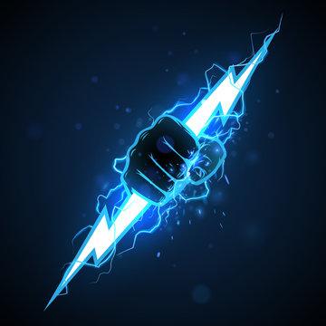 Fist with blue lightning illustration
