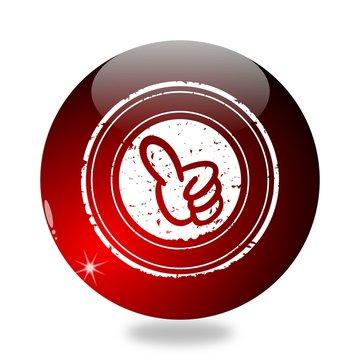 Billiard ball with raised thumb sign