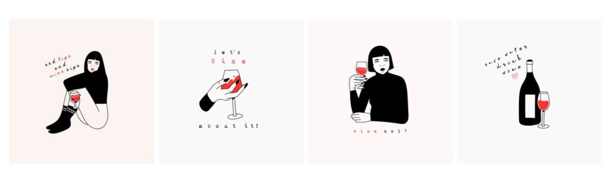 Cute ladies with red wine glasses. Wine bottle, wineglass. Wine lovers concept. Poster ideas, shirt print design or menu decoration. Set of four Hand drawn trendy Vector isolated illustrations.