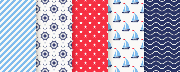 Nautical, marine seamless pattern. Vector. Sea backgrounds with sailboat, anchor, helm, stripe, star and wave. Set summer prints. Geometric texture for baby shower, scrapbooking. Color illustration