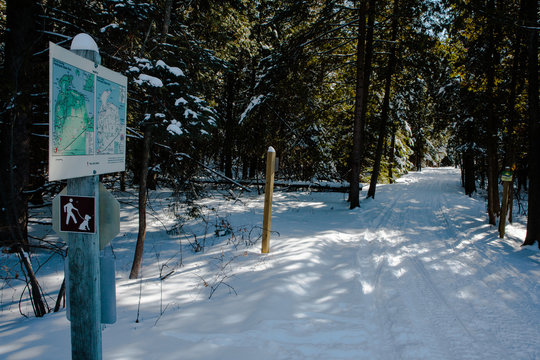 Winter snowmobile trail in Door County, Wisconsin