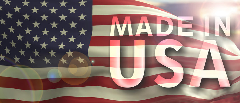 Made in USA text on us flag texture background. 3d illustration