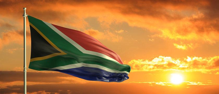South Africa flag waving on sunset sky background. 3d illustration