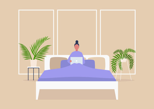 Young female character lying in bed with computer, bedroom interior, millennial lifestyle