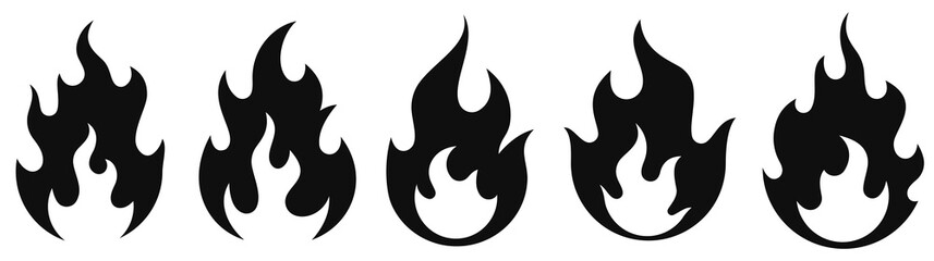 Fire flame icon set. Vector