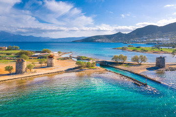 Aluminium Prints Beach The famous canal of Elounda with the ruins of the old bridge,Crete, Greece.