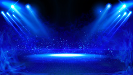 Illuminated stage with scenic lights and smoke. Blue vector spotlight with smoke volume light effect on black background. Stadium cloudiness projector. Mist show room. Vector. EPS 10
