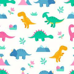 Cute colorful seamless pattern with dinosaurs. Bright background for kids. Vector illustration for textile manufacturing, notebooks etc