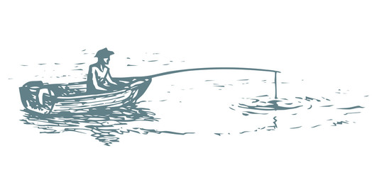 The man in the boat is fishing. Vector drawing