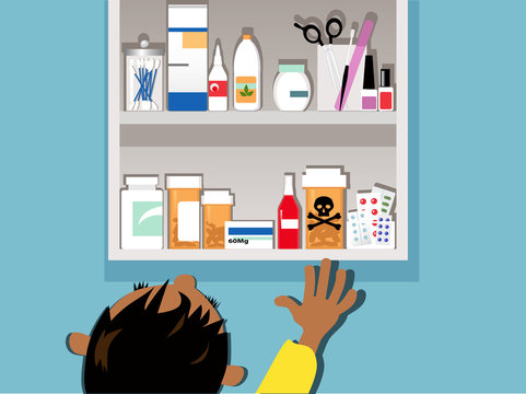 Child reaching to a dangerous drug in a medicine cabinet at home, EPS 8 vector illustration