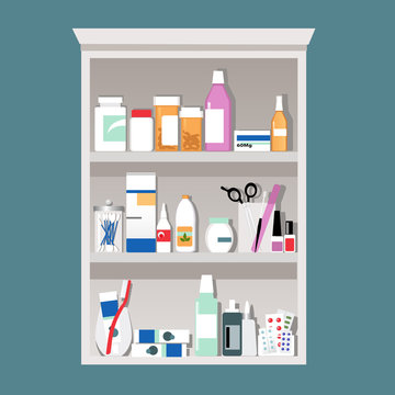 Medicine cabinet filled with pill bottle, hygiene tools and cosmetics,  EPS 8 vector illustration