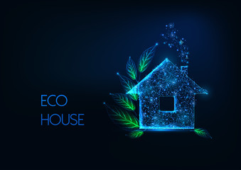 Futuristic eco house concept with glowing low polygonal residential home and green leaves Wall mural