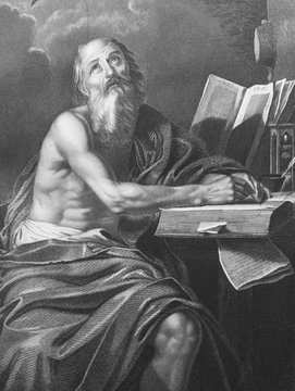 St. Jerome by Domenico Zampieri in the old book Des Peintres, by C. Blanc, 1863, Paris