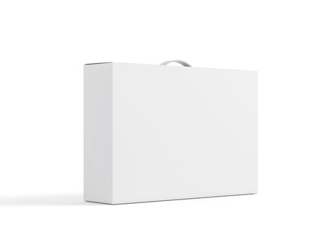 White carton Box With Handle Mockup on white background, package for laptop