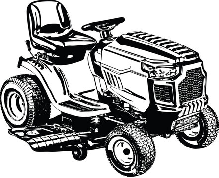Riding Lawnmower Lawn Tractor Vector Illustration