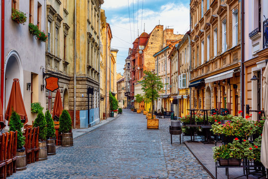 A street in historical Old town of Lviv, Ukraine