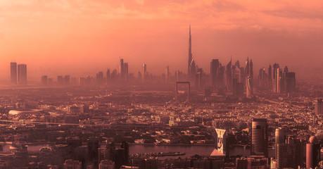 Fotorollo Koralle Dubai skyline at sunrise.
