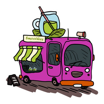 Smoothie food truck with healthy drinks full of vitamins. Isolated hand drawn vector doodle illustration.