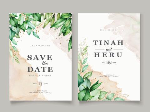 elegant watercolor leaves wedding card template