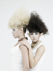 Foto op Plexiglas womenART Two beautiful young girl elf