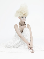Foto op Plexiglas womenART Stylish picture of a beautiful young girl elf with stylish hairstyle and makeup.